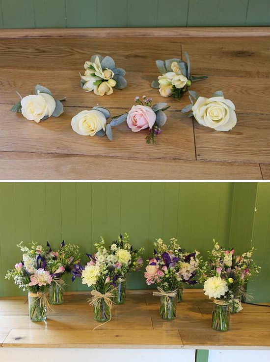 Flowercraft Lindfield - freesias in buttonholes and jam jars