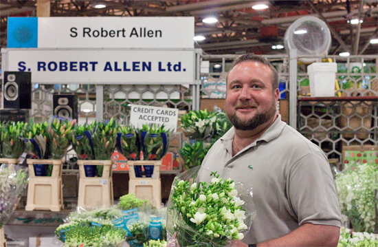 Paul at S Robert Allen with freesias at New Covent Garden Flower Market - August 2014
