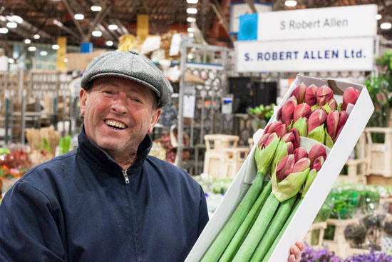 Trevor at SR Allen with amaryllis at New Covent Garden Flower Market - December 2014