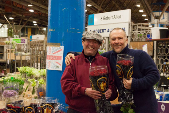 Trevor and Maurice at S R Allen at New Covent Garden Flower Market - February 2015