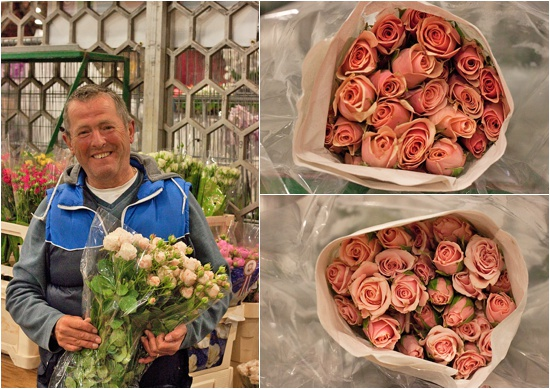 Trevor at S Robert allen with Pink majolica (majolika) spray roses at New Covent Garden Flower Market