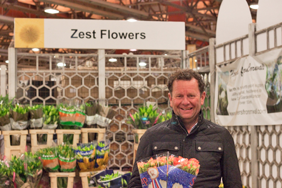 Graeme at zest with spray roses at New Covent Garden Flower Market