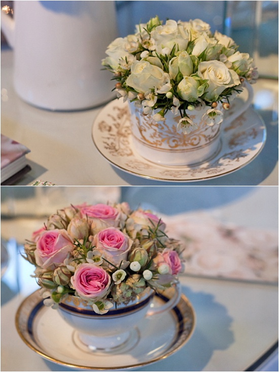 Designs using spray teacups by the Covent Garden Academy of Flowers