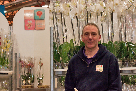 Craig at quality plants selling orchid plants at New Covent Garden Flower Market