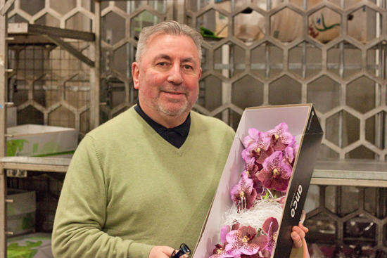 Dennis Edwards and Vanda Orchids  at New Covent Garden Flower Market