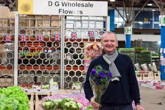 David at DG Wholesaler with anemones at New Covent Garden Flower Market - March 2015