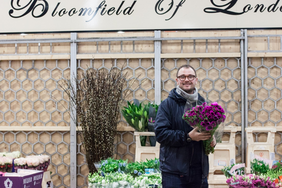 Leigh at Bloomfield with anemones at New Covent Garden Flower Market - March 2015