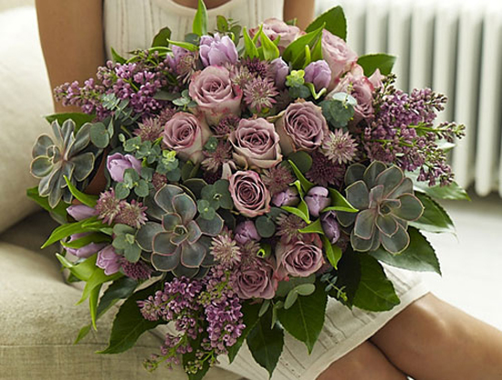 A beautiful hand-tied featuring Echeveria plants by Jane Packer.