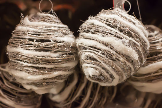 Textured baubles at New Covent Garden Flower Market - Christmas Special - December 2014