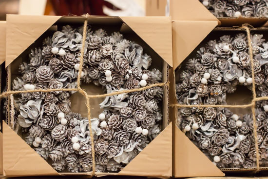 wreaths at New Covent Garden Flower Market - Christmas Special - December 2014