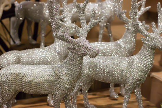 Silvery glittery reindeer at New Covent Garden Flower Market - Christmas Special - December 2014