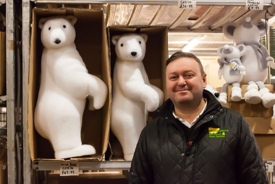 Ian at whittingtons with a range of animals at New Covent Garden Flower Market - Christmas Special - December 2014