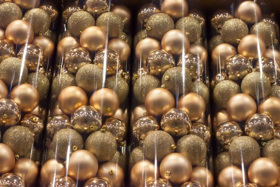 Gold Baubles at New Covent Garden Flower Market - Christmas Special - December 2014