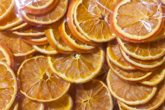 Orange slices at New Covent Garden Flower Market - Christmas Special - December 2014