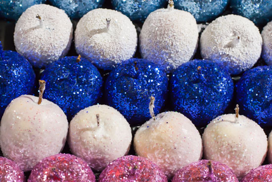 Glittery and waxed fruit at New Covent Garden Flower Market - Christmas Special - December 2014