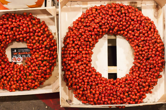 Rose hip wreath at New Covent Garden Flower Market - Christmas Special - December 2014