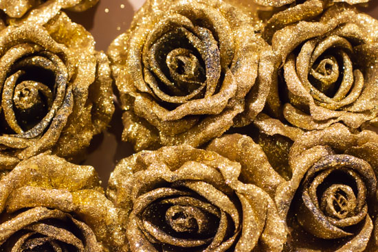 Gold glittery faux flowers at New Covent Garden Flower Market - Christmas Special - December 2014