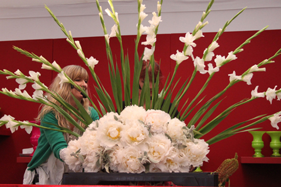 Gladioli fan created by Redel Rebel in a floristry demo at the RHS Chelsea Flower Show 2011