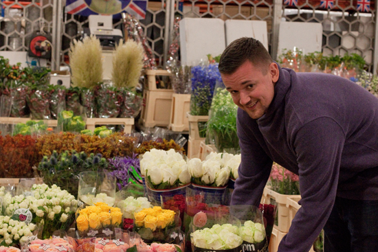 James at DG Wholesale with roses at New Covent Garden Flower Market - September 2014