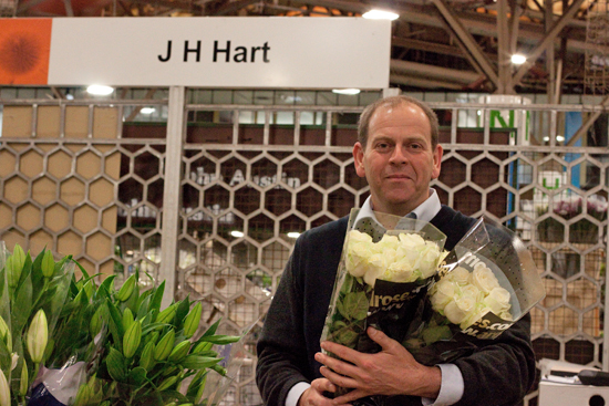 Jon at J H Hart Flowers with roses at New Covent Garden Flower Market - September 2014
