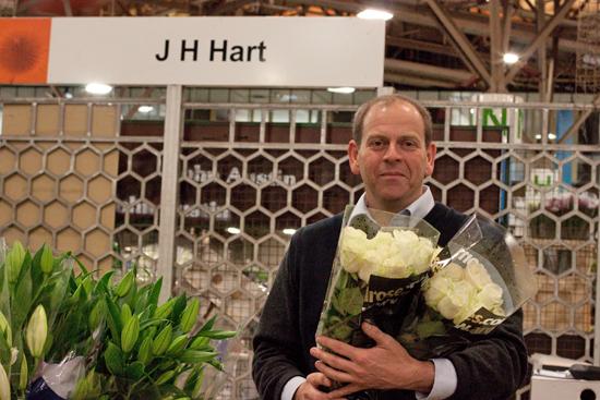 Jon at J H Hart Flowers with roses at New Covent Garden Flower Market - September 2014