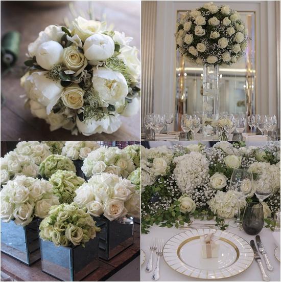 McQueens white and cream flower designs