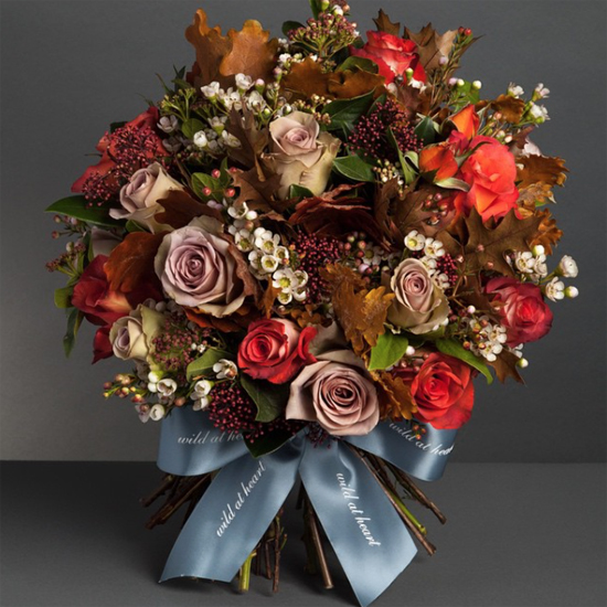Nikki Tibbles 9Wild at Heart) designs using Autumn Foliage at New Covent Garden Flower Market - October 2015