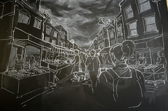 New Covent Garden Market - Chalk Mural at The Allotment