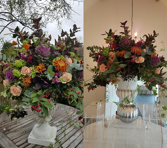 Designs by Carrie Macey of The Topiary Tree using autumnal foliage