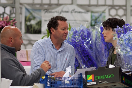 Alan Simpson and Caroline Ball of Hybrid during British Flowers Week at Zest at New Covent Garden Flower Market