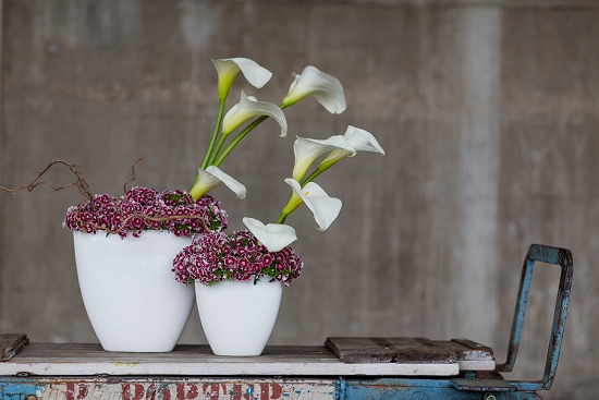 British Sweet williams and calla lilies in acontemporary design for a boardroom - designed by Hybrid for British Flowers Week 2014 at New Covent Garden Flower Market