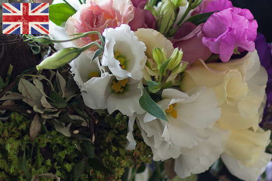 British white and pink Lisianthus at New Covent Garden Flower Market