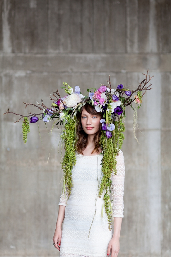 Okishima & Simmonds' 'Lizzy' headdress designed for British Flowers Week at New Covent Garden Flower Market