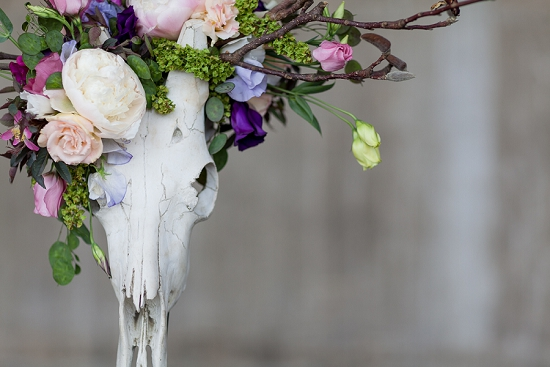 Okishima & Simmonds' skull-full of Lisianthus designed for British Flowers Week at New Covent Garden Flower Market