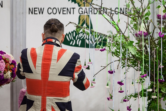 Simon Lycett preparing his designs for British Flowers Week 2014 at New Covent Garden Flower Market