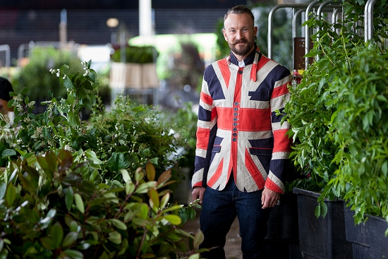 Simon Lycett celebrating British Flowers Week at New Covent Garden Flower Market