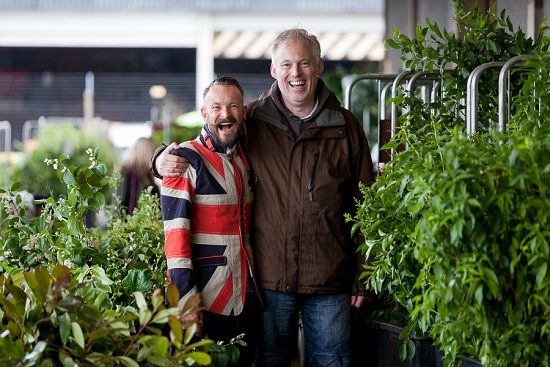 Simon Lycett celebrating British Flowers Week with Barry at Porters at New Covent Garden Flower Marke