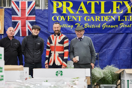 Simon Lycett celebrating British Flowers Week with the team at Pratley at New Covent Garden Flower Marke