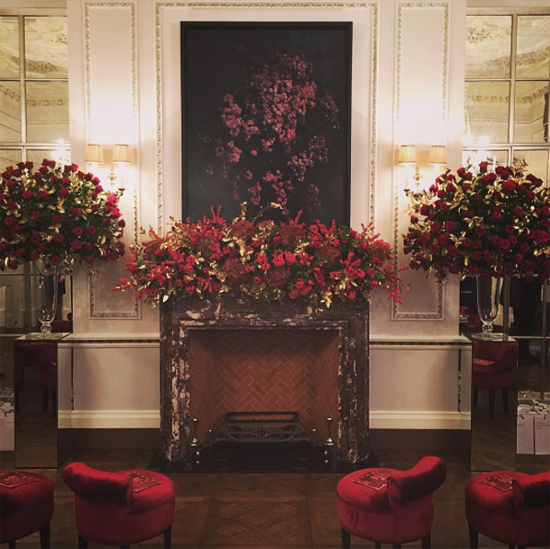 By Appointment Only Design nostalgic red mantelpiece decorations for Maison Francis Kurkdjian, London