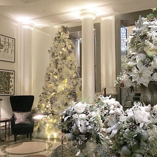 By Appointment Only Design white Christmas trees at the Corinthia, London