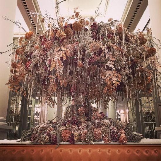 By Appointment Only Design's metallic tree installation at the Corinthia, London