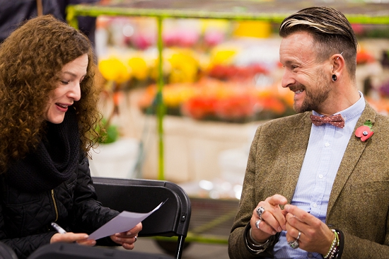 New Covent Garden Market Florist of the Year 2013 - Simon Lycett chatting with Rona Wheeldon of Flowerona