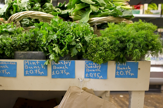 Herbs at Swiss Cottage Grocers who buy from New Covent Garden Market