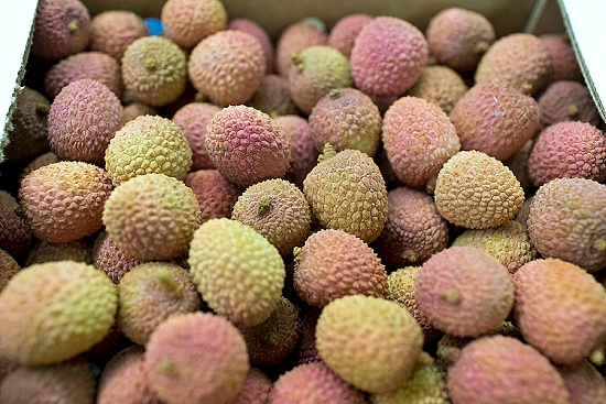 Lychees at New Covent Garden Fruit & Vegetable Market - January 2016
