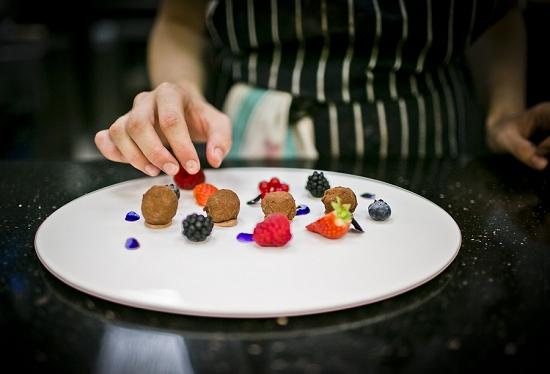 Dish prep at L'Anima