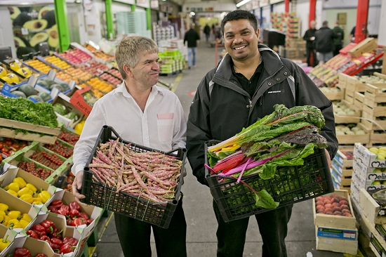 Shaun Joseph Fernandez (pictured right) and Vasco Soares (left) from Partridges store at New Covent Garden Fruit and Vegetable Market