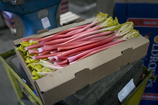 Weighing boxes of forced rhubarb