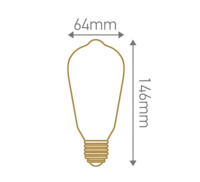 Ampoule e27 edison filament led 4w 2300k 300lm h14cm o6 4cm dimmable transparent girard sudron 57898 product