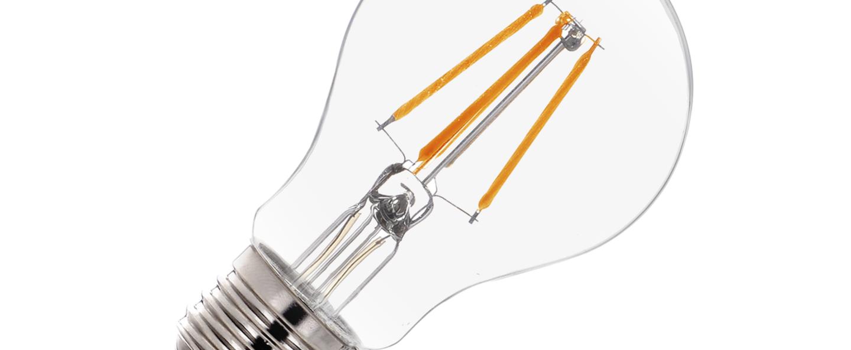 Ampoule led a60 e27 280 4 5w verre transparent chrome led 2700k 530lm o6cm h10 5cm slv normal