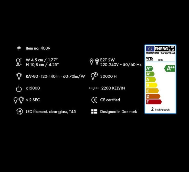 Idea 2w 45mm thomas edison ampoule led eco bulb  vita copenhagen 4039  design signed 35072 product